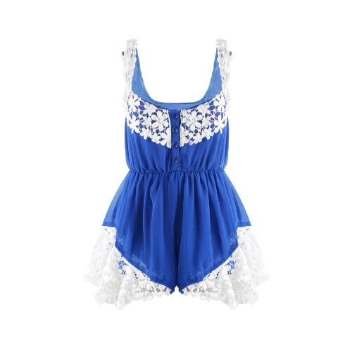 Fashion Women Chiffon Rompers Lace Floral Front Button Elastic Waist Sleeveless Beach Dress Jumpsuit