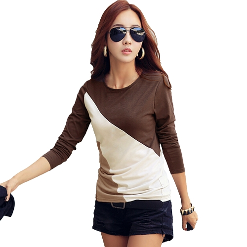 New Fashion Women T-Shirt Patchwork Crew Neck Long Sleeve Casual Slim TopTops &amp; Vests<br>New Fashion Women T-Shirt Patchwork Crew Neck Long Sleeve Casual Slim Top<br><br>Blade Length: 30.0cm