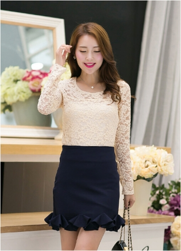 New Fashion Women Lace T-Shirt Hollow Out Crew Neck Long Sleeve Casual Top