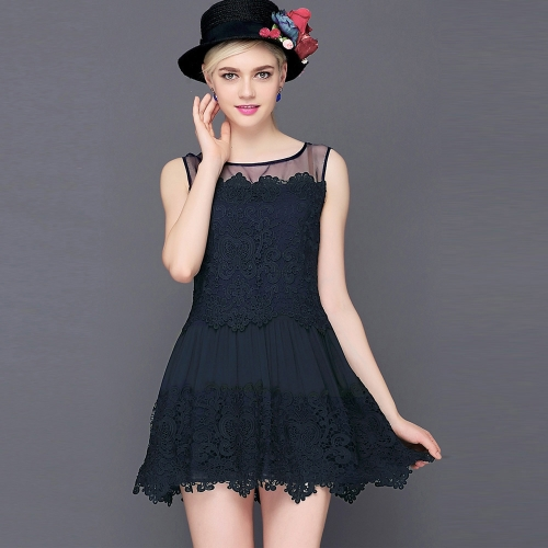 New Fashion Women Lace Dress Crochet Patchwork Mesh Round Neck Sleeveless Sweet Slim Mini Dress White/Dark BlueDresses<br>New Fashion Women Lace Dress Crochet Patchwork Mesh Round Neck Sleeveless Sweet Slim Mini Dress White/Dark Blue<br><br>Blade Length: 30.0cm