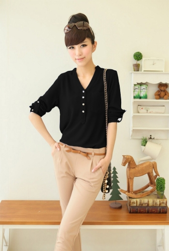 New Fashion Women Shirt Chiffon Buttons Epaulette V-Neck Long Sleeve Solid Loose Elegant Blouse White/ Black/RoyalblueShirts &amp; Blouses<br>New Fashion Women Shirt Chiffon Buttons Epaulette V-Neck Long Sleeve Solid Loose Elegant Blouse White/ Black/Royalblue<br><br>Blade Length: 30.0cm