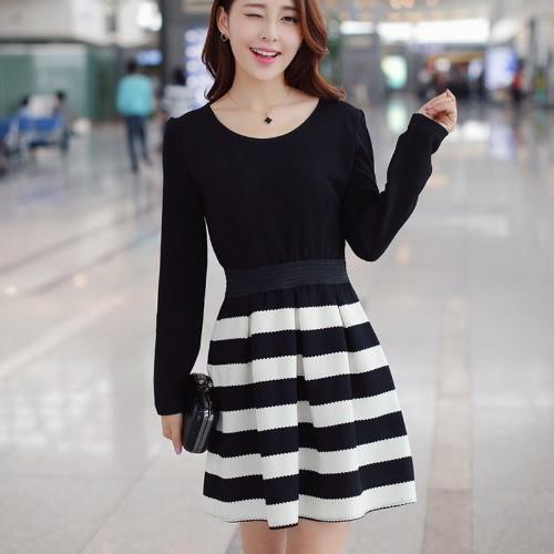 New Fashion Women Dress Striped Patchwork Crew Neck Long Sleeve Casual Mini Dress Black G0920B-S