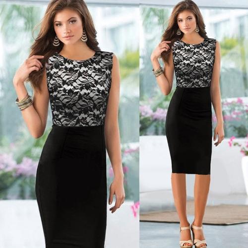 New Fashion Women Dress Floral Lace Patchwork Color Block Sleeveless Elegant Pencil Dress Black