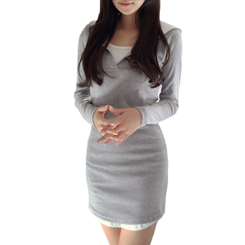 New Fashion Women Dress Contrast Hooded Neck Long Sleeve Faux Two-Piece Mini Dress Grey
