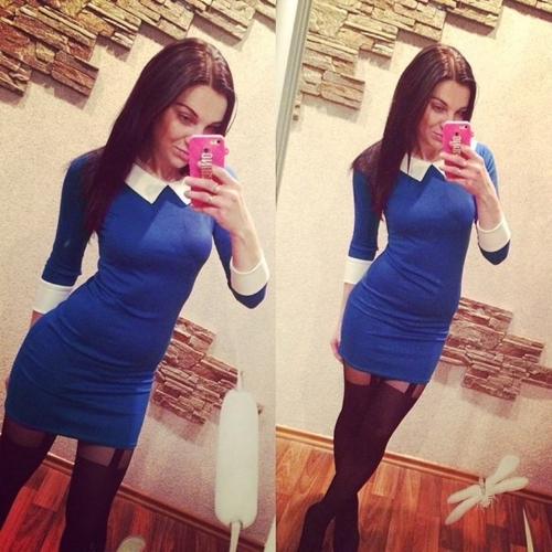 Fashion Women Mini Dress Contrast Color Turn-Down Collar Long Sleeve Casual Dress Black/Blue/Red