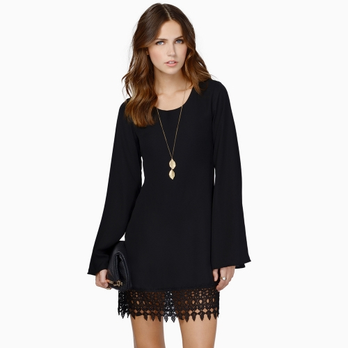 Fashion Women Chiffon Shift Dress Crochet Lace Hem Long Sleeve Mini Dress Black/WhiteDresses<br>Fashion Women Chiffon Shift Dress Crochet Lace Hem Long Sleeve Mini Dress Black/White<br><br>Blade Length: 30.0cm