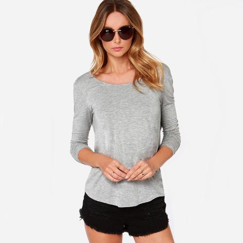 New Fashion Women T-shirt Draped Wrap Pleated Cross Deep V Back O-Neck Long Sleeve Sexy Blouse
