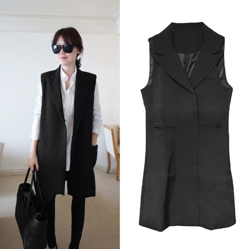 Fashion Women Thin Coat Notched Collar Double Press Stud Pockets Sleeveless Waistcoat Jacket Black