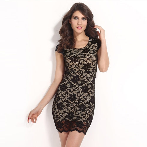 Sexy Women Dress Floral Lace Crew Neck Short Sleeve Zipper Open Back Mini Bodycon Dress Black/Pink/Blue