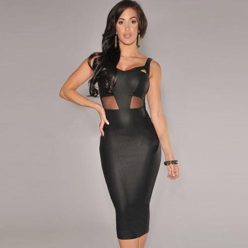 Buy Sexy Women Dress Mesh Cutout V Neckline Sleeveless Party Club Midi Black/White