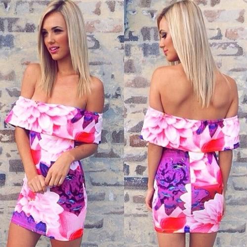 Buy Fashion Women Dress Floral Print Shoulder Strapless Bodycon Mini Sexy One-piece Purple