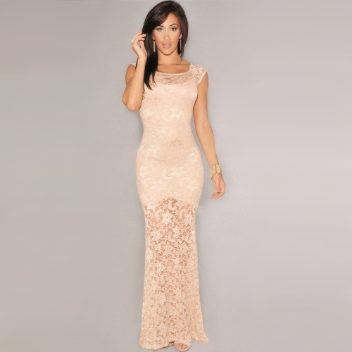 New Fashion Women Dress Lace Lined Mermaid Sleeveless Long Slim Sexy Evening Party Dress Nude Pink/Black G0988P-M