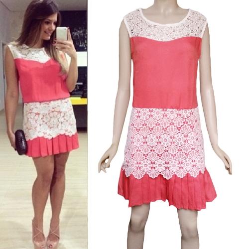Fashion Women Mini Dress Crochet Lace Patchwork Pleated Hem Side Zipper Crew Neck Sleeveless Dress Red