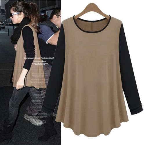 New Fashion Women T-shirt Contrast Patchwork O-Neck Long Sleeve Casual Blouse Tops Coffee&Black