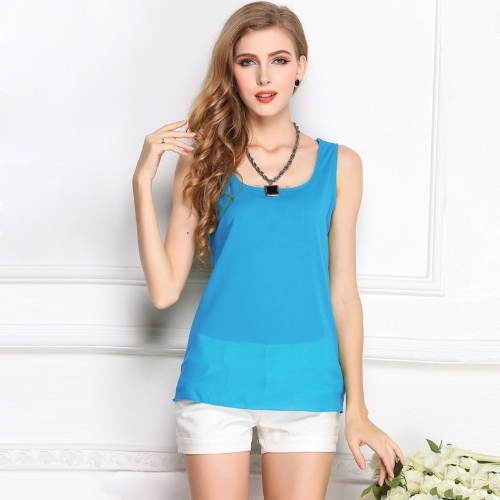 New Fashion Women Tank Top Chiffon Candy Color O-Neck Sleeveless Casual Vest Blouse TopsTops &amp; Vests<br>New Fashion Women Tank Top Chiffon Candy Color O-Neck Sleeveless Casual Vest Blouse Tops<br><br>Blade Length: 30.0cm