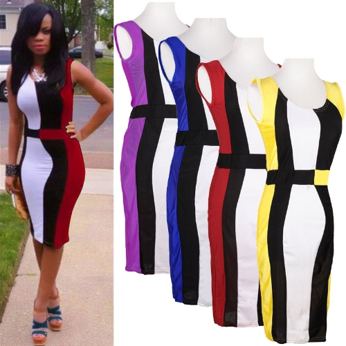 Sexy Women Patchwork Dress Contrast Color Block Sleeveless Bodycon Party DressDresses<br>Sexy Women Patchwork Dress Contrast Color Block Sleeveless Bodycon Party Dress<br><br>Blade Length: 27.0cm