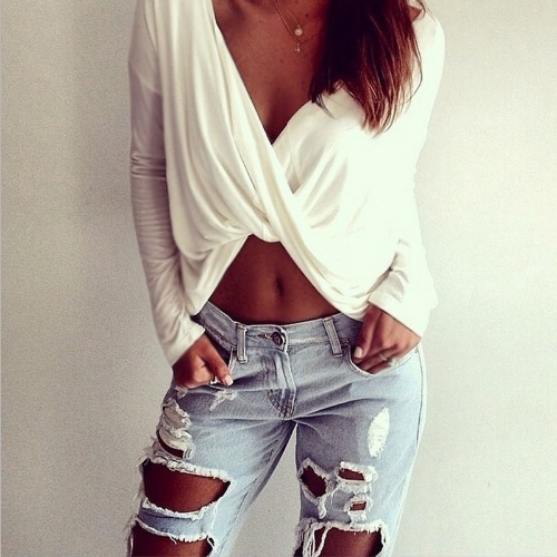 Sexy Women Crop Top Deep V Neck Cross Twisted Front Long Sleeve Casual T-shirt White