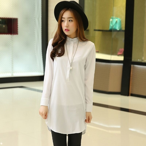 New Fashion Women Shirt Stand Collar Button Down Long Sleeve Casual Loose Blouse Top White