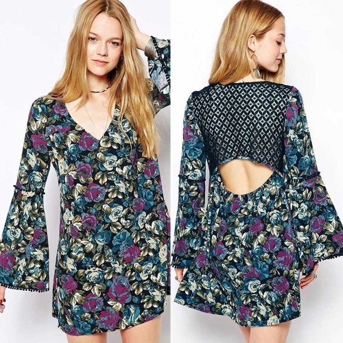 Buy Vintage Women Mini Dress Floral Print Lace Cutout Back Flare Long Sleeve Party Blue