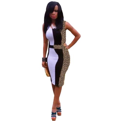 Sexy Women Dress Leopard Print Patchwork Dress Sleeveless Bodycon Party Dress BrownDresses<br>Sexy Women Dress Leopard Print Patchwork Dress Sleeveless Bodycon Party Dress Brown<br><br>Blade Length: 27.0cm