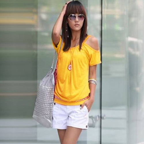 Korea Sexy Women T-shirt Strap Off Shoulder Scoop Neck Short Sleeve Casual Loose Tee TopShirts &amp; Blouses<br>Korea Sexy Women T-shirt Strap Off Shoulder Scoop Neck Short Sleeve Casual Loose Tee Top<br><br>Blade Length: 15.0cm