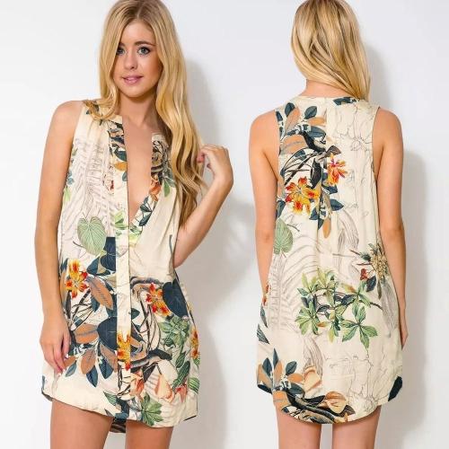 Fashion Women Mini Dress Floral Print Deep V Neck Button Closure Front Asymmetric Hem Sleeveless Dress Green