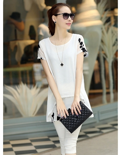 New Fashion Women Chiffon Blouse Embroidery Crew Neck Short Sleeve Loose Fit Casual Tops White/Black G1153W-XL