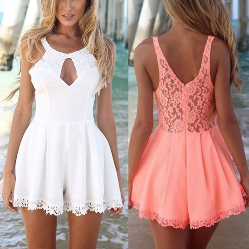 New Fashion Women Jumpsuit Lace Patchwork Hollow Out Round Neck Sleeveless Beach Playsuit Romper Pink/White