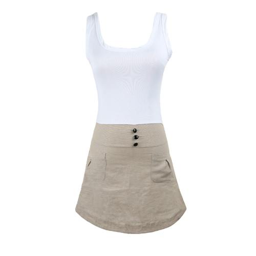 Fashion Women Mini Dress Patchwork Round Neck Sleeveless Side Zipper Pocket Front Button Tank Dress White