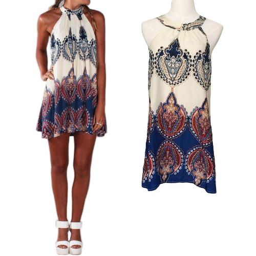 Fashion Women Summer Dress Printed Halter Style Sleeveless Mini Dress BeigeDresses<br>Fashion Women Summer Dress Printed Halter Style Sleeveless Mini Dress Beige<br><br>Blade Length: 20.0cm