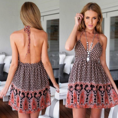New Sexy Women Dress Floral Print Halterneck Deep V Neck Backless Elastic Waist Summer Dress Black