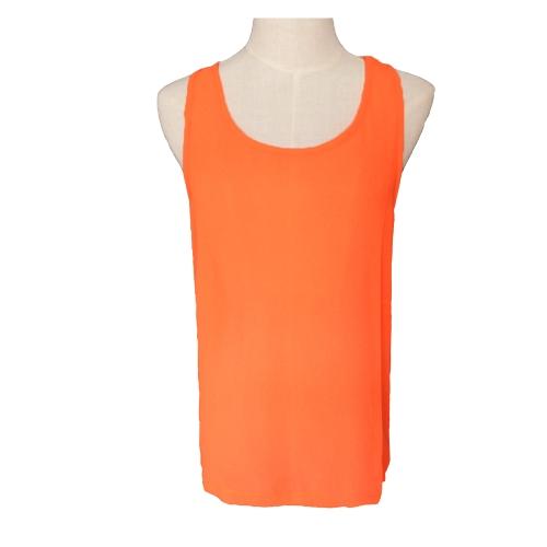 New Fashion Women Chiffon Vest Back Bow Sheer Blouse Sleeveless Crew Neck Tank Top