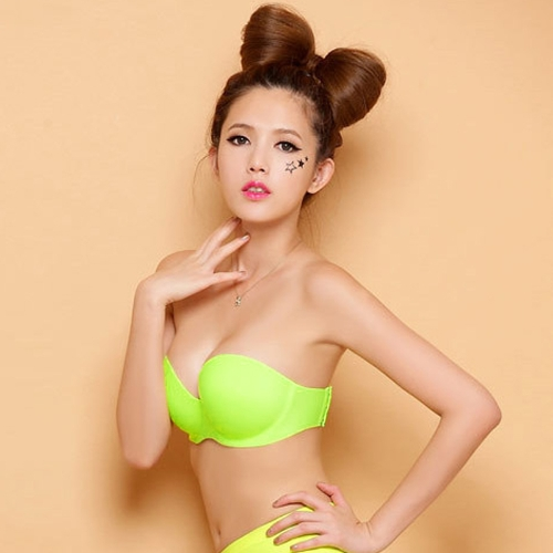 New Fashion Women Seamless Bra Padded Push Up Underwire 1/2 Cup Strapless Bralette Underwear
