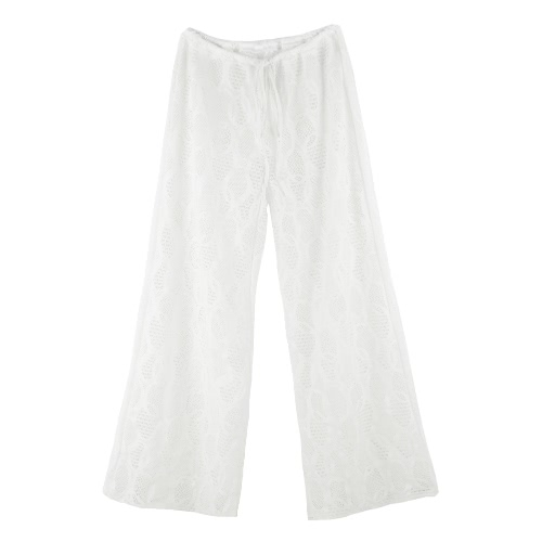 New Sexy Women Beach Trousers Hollow Out Drawstring Waist Wide Leg Casual Boho Loose Pants Black/WhitePants &amp; Shorts<br>New Sexy Women Beach Trousers Hollow Out Drawstring Waist Wide Leg Casual Boho Loose Pants Black/White<br><br>Blade Length: 20.0cm