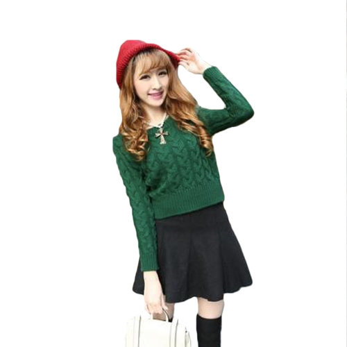 Fashion Women Short Knitted Sweater Candy Color Round Neck Long Sleeve Pullover G1325GR
