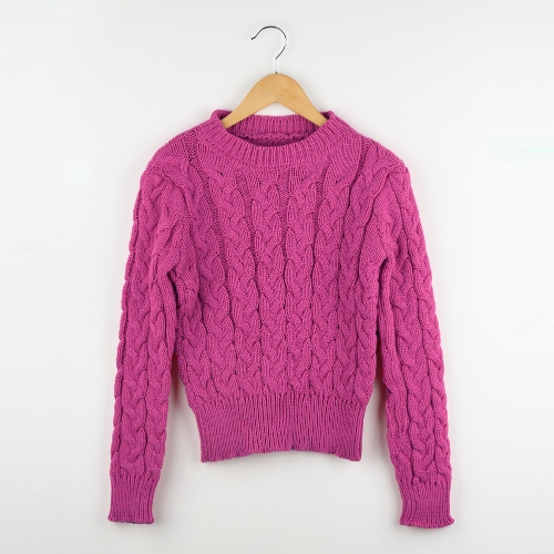 Fashion Women Short Knitted Sweater Candy Color Round Neck Long Sleeve Pullover G1325RO