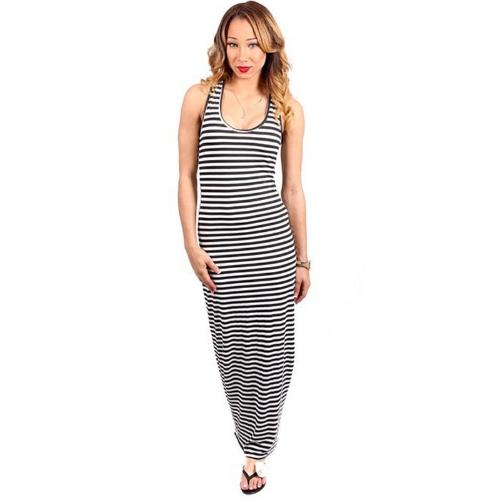 Buy Fashion Women Striped Maxi Dress Scoop Neck Sleeveless Casual Beach Long Black