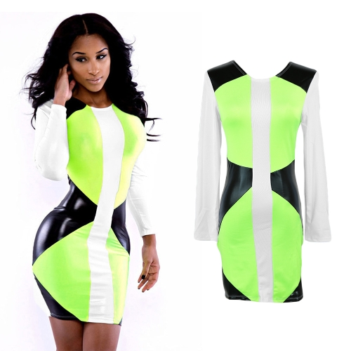 Fashion Women Bodycon Dress Color Blocking Faux Leather Patchwork Long Sleeve Mini Dress Fluorescent Green