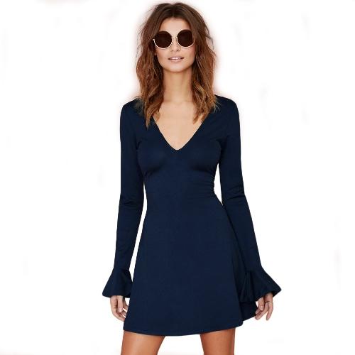 New Fashion Women Mini Dress Deep V Neck Flare Sleeve Solid Color Dress Dark Blue G1354DB-M