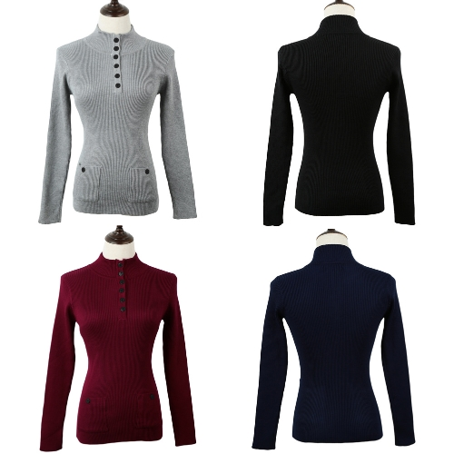 New Fashion Women Sweater Stand Collar Buttons Long Sleeve Solid Bodycon Fit Casual Knitwear G1361DB-L