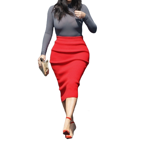 Celebrity Style Women Two Piece Dress Turtle Neck Long Sleeve Modal Top High Waist Bandage Party Pencil Dress Red