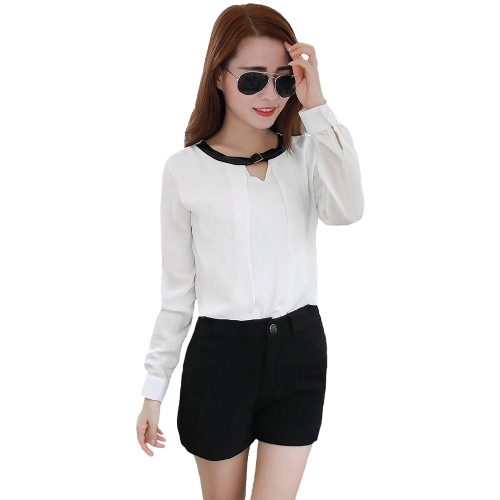 Fashion Women Shirt Belt Neck Long Sleeve Keyhole Button Formal Casual Blouse Tops WhiteShirts &amp; Blouses<br>Fashion Women Shirt Belt Neck Long Sleeve Keyhole Button Formal Casual Blouse Tops White<br><br>Blade Length: 32.0cm