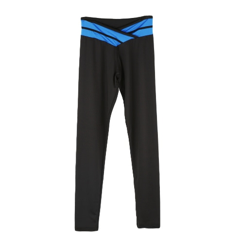 Fashion Women Stretch Leggings Contrast Color Elastic Waist Gym Sport Running Pants Trousers