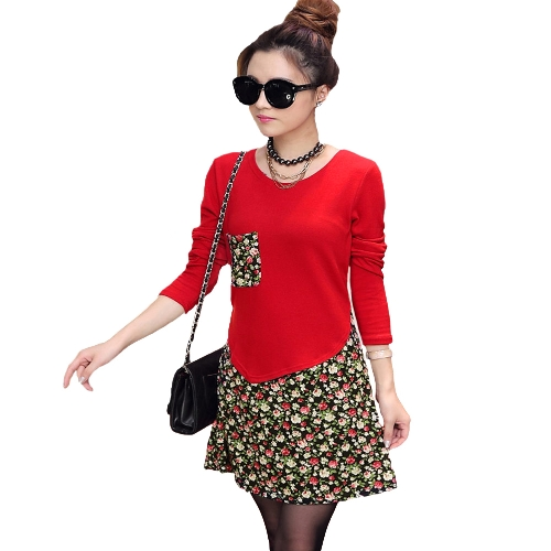 Fashion Women Jersey Dress Floral Print Pullover Fake Two Piece Long Sleeve Round Neck Stretchy Knit DressDresses<br>Fashion Women Jersey Dress Floral Print Pullover Fake Two Piece Long Sleeve Round Neck Stretchy Knit Dress<br><br>Blade Length: 29.0cm