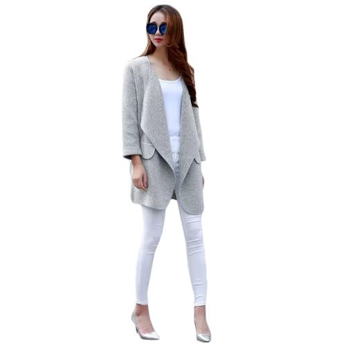 Fashion Women Loose Coat Open Front Shawl Collar Long Sleeve Cardigan Grey/Brown G1403GY