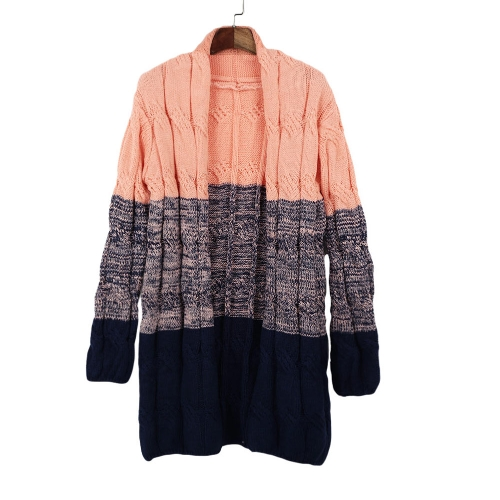 Fashion Women Knitted Coat Crochet Patchwork Long Open Front Long Sleeve Thick Long Cardigan Knitwear