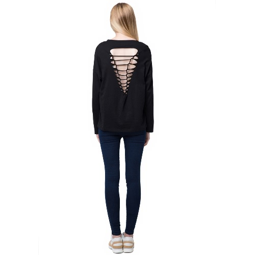 Buy Fashion Women Casual T-Shirt Hollow Back Long Sleeve Pullover Black/Grey/Pink