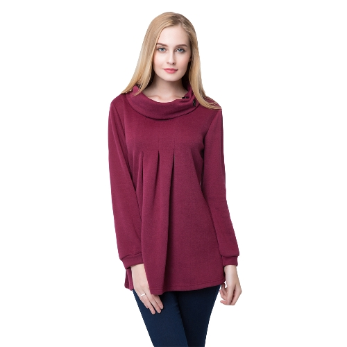 New Fashion Women Top Pleated Button Roll Neck Long Sleeve Casual Autumn Winter Pullover Burgundy G1422BU-XL