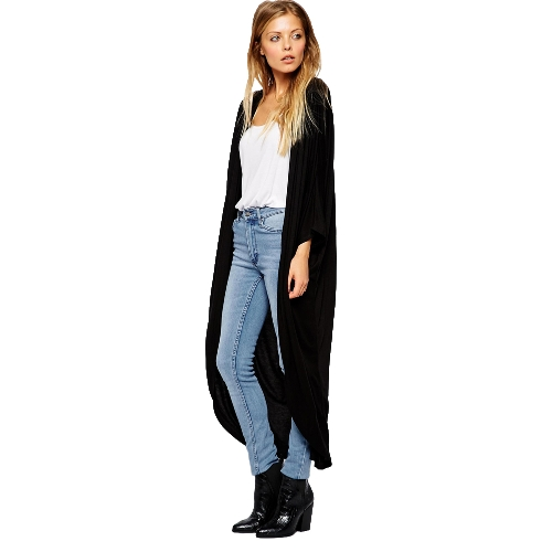 Buy Fashion Women Thin Cardigan Long Sleeve Loose Asymmetric Hem Maxi Kimono Black/Gray