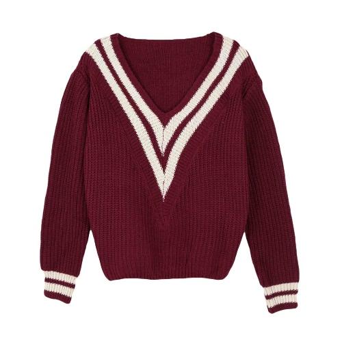 Fashion Women Knitted Sweater Deep V Neck Contrast Stripe Long Sleeve Pullover Weave Knitwear